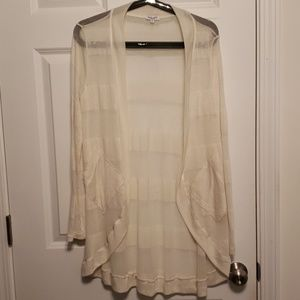 Splendid Cream Off-White Sheer Striped Cardigan